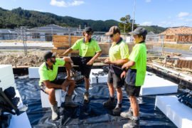Group of tradies on a work site