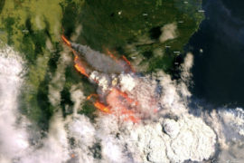 Satellite image of the bushfires in Australia