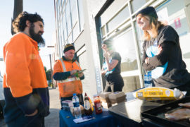 Goodwork team chatting to tradies