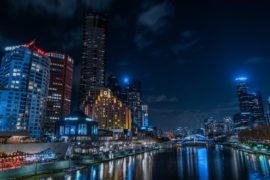 melbourne foreshore at night